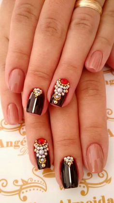 103 most amazing summer nail color 2019 page 00024 Indian Nail Designs, Black Nail Designs, Nail Art Designs, Diamond Nail Designs, Diamond Nails, Rhinestone Nails, Bling Nails, Black Shellac Nails, Indian Nails