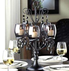 Black Crystal Candelabra - $50 #home #decoration #impressive #table #glass #glamour #iron #light #candle