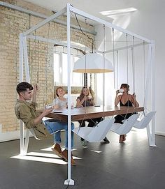 The swing table is a large conference table that uses swings as the chairs. Great for conference rooms, meeting rooms, or board rooms, the swing table will give your employees a bit of enjoyment inbet. Swing Table, Swing Chairs, Hanging Chairs, Swing Seat, Hanging Table, Play Swing, Room Chairs, Sweet Home, Design Tisch