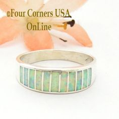 Size 10 White Fire Opal Inlay Ring Native American Ella Cowboy WB-1719 Four Corners USA OnLine Navajo Silver Jewelry Wide Wedding Bands, Engagement Wedding Ring Sets, Wedding Sets, Native American Wedding, Native American Rings, Four Corners Usa, Alternative Wedding Rings, Great Anniversary Gifts, Pretty Rings