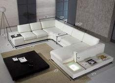 Divani Casa - Modern Leather Sectional Sofa with Light - Stylish Design Furniture Modern Leather Sectional, Corner Sofa Design, Sofa Design, Furniture, Sofa Set Designs, Living Room Sofa, White Leather Sofas, Modern Leather Sectional Sofas, Living Room Sofa Design