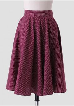 Maryanne Polka Dot Skirt in Burgundy