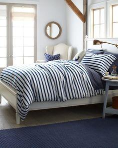 Blue & white stripped bedding :: fresh