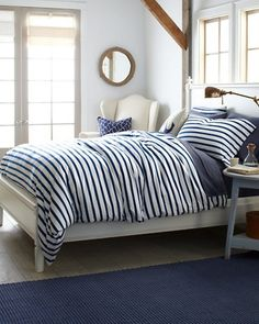 Blue  white stripped bedding ♥ Coastal Style Blog