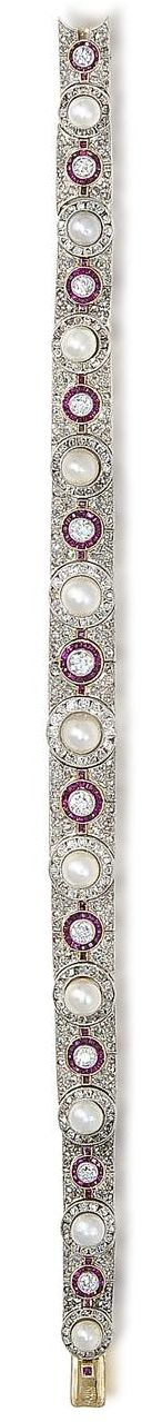 A pearl, ruby and diamond bracelet, by Koch, circa 1915  The central row of millegrain-set pearl and cushion-shaped diamond clusters set alternately with old brilliant-cut diamond and calibré-cut ruby circlets, to a rose-cut diamond tapering border, signed Koch, pearls untested, length 19.0cm, fitted maker's case