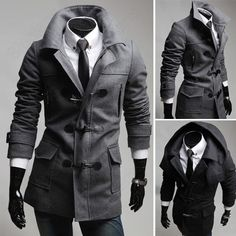 Classic Men's Winter Horn Button Removable Hooded Thicken Jacket Trench