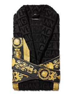 Covered in a faint textural VERSACE logo print and accented by a Barocco  printed sleeve and wrap belt 41e777873