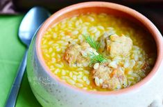 Delicious! Chicken Meatball Orzo Soup- add juice of a half a lemon at the end and a few handfuls of spinach torn into. Cook orzo separately and add to soup at the end.