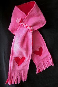DIY fleece scarf...can also use felt to create other scarves (i.e. Penguin, snowman, etc.)