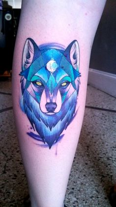 Stylized geometric wolf by Alex Gregory at Brass Knuckle Tattoo; Minneapolis, MN. #ink #tattoo