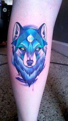 Stylized geometric wolf by Alex Gregory at Brass Knuckle Tattoo; Minneapolis, MN. #ink #tattoo
