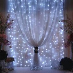 ABOUT 9FT X 9 FT. THE PERFECT LIGHTS FOR PUTTING BEHIND SHEER CURTAINS AS THEY DO NOT GET HOT AND DO LOOK BEAUTIFUL EITHER BEHIND CURTAINS OR AS A CANOPY. LOVELY AS A BACKDROP.