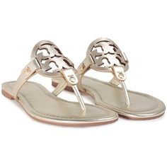Tory Burch Miller Metallic-Leather Thong Sandal (275 CAD) ❤ liked on Polyvore featuring shoes, sandals, oro, slip on sandals, toe thongs, leather slip on sandals, leather thong sandals and flat thong sandals