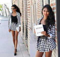 Get this look: http://lb.nu/look/6723744  More looks by Tiffany Borland: http://lb.nu/tiffany  Items in this look:  Missguided Grid Blazer, Missguided Grid Shorts, Asos Platform Heels   #chic #edgy #street