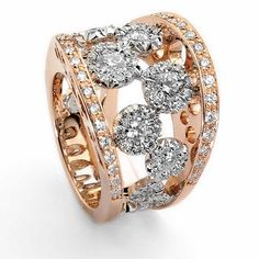 Pink gold and diamond ring by Favero...would be cool with 6 diamonds.