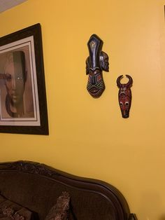 Looks great! Thanks for sharing an image of the African Mask that you purchased from our website. It's always a great idea to incorporate elements from the Motherland into your home in my opinion....