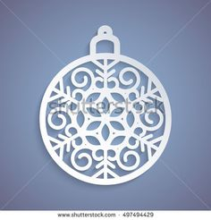 Christmas ball with a snowflake cut out of paper. Template for Christmas cards, invitations for Christmas party. Image suitable for laser cutting, plotter cutting or printing.  Festive background.