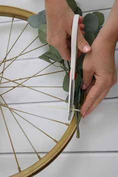 I love taking old things and making something new. This post is about a child's bike wheel that is made into a cheerful, not so traditional, autumn wreath. Bicycle Rims, Bicycle Wheel, Washing Machine Drum, Diy Wreath, Wreath Ideas, Autumn Wreaths, Kids Bike, Ship Lap Walls, Paint Party