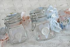 glass jars decorated with embellies