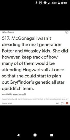 This is the most accurate McGonagall + next generation post I've seen