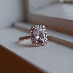 LOVEEEE This saphire ring!!!!  3.86ct Cushion Peach sapphire Champagne sapphire 14k rose gold diamond ring engagement ring. $4,250.00, via Etsy.