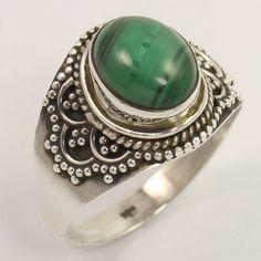 Vintage Design Ring Size US 8.75 Natural MALACHITE Gemstone 925 Sterling Silver #Unbranded
