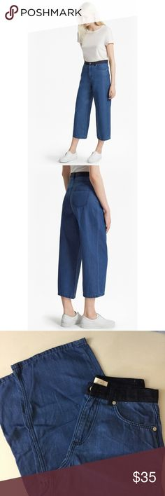 French Connection WISTERIA BLUE DENIM CULOTTES XS There are little white threads sticking out, but this is how they came (see close up photos). Worn once! French Connection Jeans Flare & Wide Leg