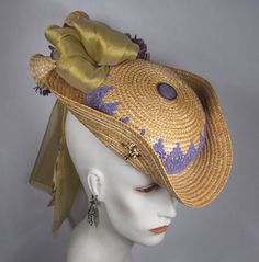 Winter Carnivale inspired hat reassembled from recycled wicker and found objects by Heather Daveno