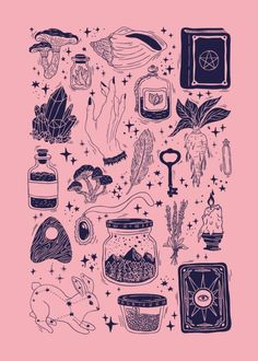 Wallpaper, pretty drawings, monthly subscription boxes, sub box, bunny tatt Art And Illustration, Halloween Illustration, Landscape Illustration, Posca Art, Witch Aesthetic, Pink Aesthetic, Witch Art, Flash Art, Grafik Design