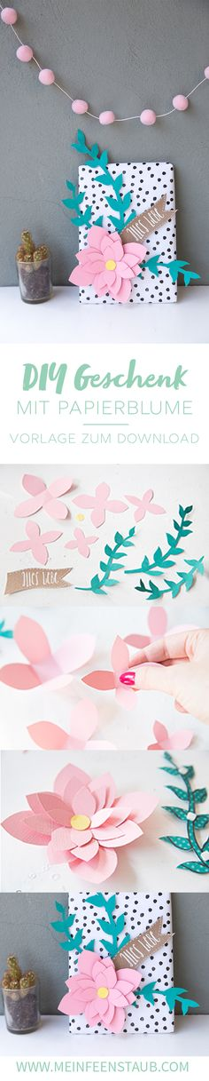 DIY Geschenk Mit Papier Blumen Kreativ Verpacken. Geschenke VerpackenIdeen  Für GeschenkeBasteln ...