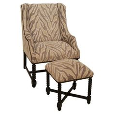 Check out this item at One Kings Lane! Barley-Twist Wingback & Ottoman