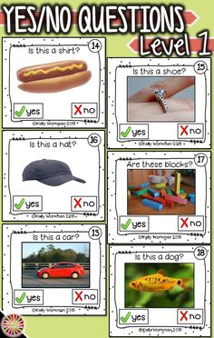 Need materials to help students answer basic yes – no questions? Develop this early language skill by using photo flashcards … Preschool Speech Therapy, Speech Language Therapy, Speech And Language, Speech Pathology, Autism Activities, Language Activities, Autism Resources, Flashcard Games, Receptive Language