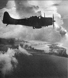 Dawn attack by Douglas Dauntless Dive Bombers - Wake Island, circa 1943.  #aviation #WWII