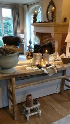 🌟tante s!fr@ loves this📌🌟woon french country living room, French Country Living Room, Diy Fireplace, Interior Design Kitchen, Cozy House, Rustic Furniture, Rustic Style, Farmhouse Decor, Family Room, Sweet Home