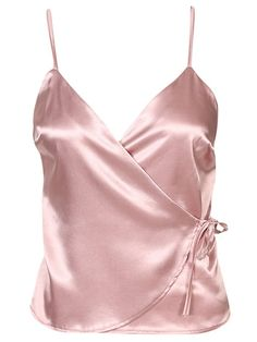 NLY One klänningar & festklänningar online Stylish Outfits, Cool Outfits, Fashion Outfits, Rock Chic, Satin Top, Pink Satin, Satin Tank Top, Wrap Tie Top, Diy Tops