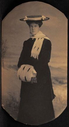 Antique Small Photo Woman Ermine Stole Muff Dark Coat Dress Hat Unmounted