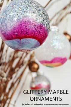 Nail polish stars in these sparkle-filled ornaments, offering an extra element of color to make each one different than the other.  Get the tutorial at I Love to Create »   - HouseBeautiful.com