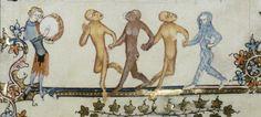 Monkeys dancing with blue hairy wild-man, MS 264, fol. 106, 1338-1344. Bodleian Library.