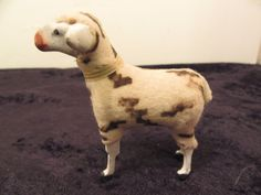Rare Antique German Putz Woolly Spotted Stick Legged Nativity SHEEP Goat 2 3/4""