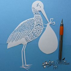 PERSONAL Mr Stork new baby Papercutting by AprilSummersArt on Etsy