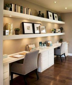 40 Classy Farmhouse Home Office Design - Infrastructure - Desk Ideas OfficeDesk - Stunning Noble Farmhouse Home Office Design - Infrastructure - Ideas for the Desk OfficeDesk - Stunning 4 .Small Home Office Furniture Ideas Corporate Office Design Contemporary Home Office, Office Interior Design, Built In Desk, Tiny Home Office, Office Interiors, Brown Rooms, Home, Home Decor, Office Design