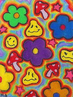 Hippie Painting, Trippy Painting, Hippie Drawing, Arte Indie, Indie Art, Hippie Wallpaper, Retro Wallpaper, Wallpaper Backgrounds, Wallpaper Patterns