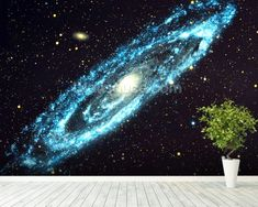 Spiral Galaxy wallpaper mural room setting