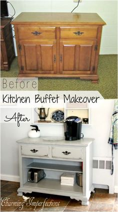 Take an old dining hutch and make an awesome coffee buffet for your kitchen. Repurposed and vintage.