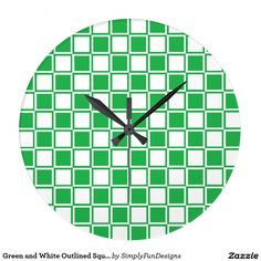 Green and White Outlined Squares Large Clock