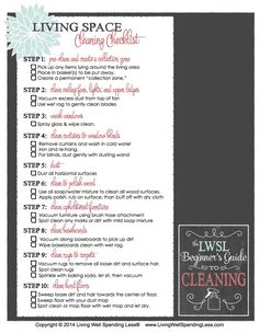 Living Space Cleaning Checklist- like I will ever have time for any of this, lol!