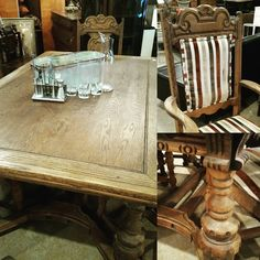 Vintage Table with leaves. Includes 6 chairs! Only $498. #restylechicago #reluxvintage #vintagetable https://www.instagram.com/p/BNc6bv7AQ4n/