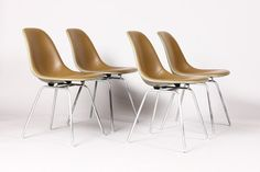#743 — Mid Century / Vintage Herman Miller Fiberglass Shell chairs by Charles Eames — Grey Fiberglass with Seal Brown seats - (Set of 4)