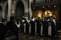 Dominican friars of the Province of England sing Vespers in the choir of St Dominic's Priory church in London.