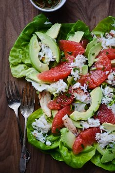 Grapefruit, Avocado & Crab Salad. Substitute coconut oil for olive oil. #Recipe